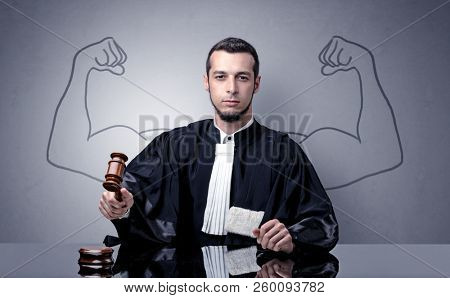 Young judge with brawny design on his back stock photo
