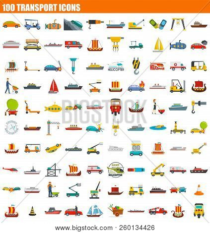 100 transport icon set. Flat set of 100 transport icons for web design stock photo