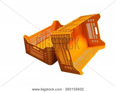 Orange plastic two boxes of empty perspective look 3d render on white background no shadow stock photo