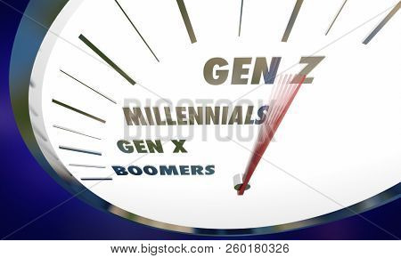 Generation Z X Millennials Boomers Speedometer 3d Illustration stock photo