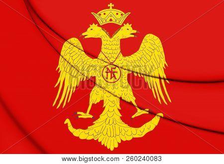 3D Flag of Palaiologos Dynasty. Byzantine Eagle. 3D Illustration. stock photo