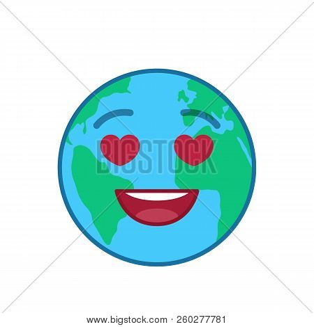 Falling in love world globe isolated emoticon. Amorously blue planet emoji. Social communication and weather widget. Lovingly face showing facial emotion. Funny earth icon. Weather forecast vector stock photo