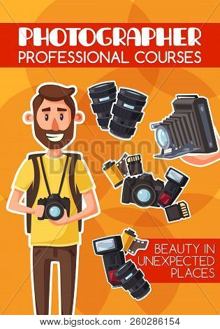 Photographer, freelancer, photojournalist, professional courses and equipment. Man with digital camera and photo items, lens and flash, photo film roll and memory card. Cartoon vector stock photo