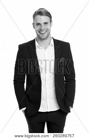 Man happy well groomed in formal suit, isolated white background. Male fashion concept. Business dress code means for men suit. Business dress code. Businessman gentleman dressed professional suit. stock photo