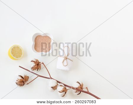 Moroccan red clay powder in the white plate, towel. Ingredients for home skin care, easy spa procedures and detox. Decorated with cotton branch. Minimal composition. Fashion and beauty blog. stock photo
