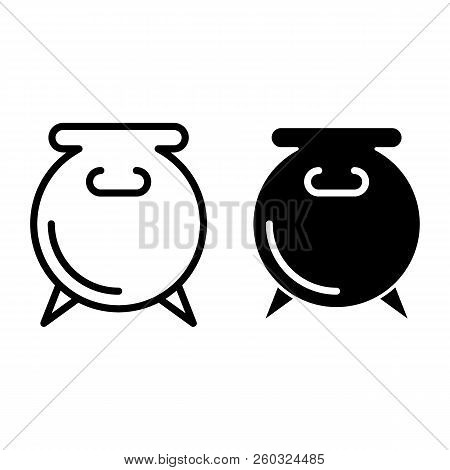 Pot line and glyph icon. Cauldron vector illustration isolated on white. Boiler outline style design, designed for web and app. Eps 10. stock photo