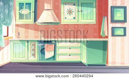 Kitchen interior in retro provence style vector illustration. Cartoon background of rustic antique furniture cupboard, cooking stove oven and exhaust hood with backsplash at sink stock photo