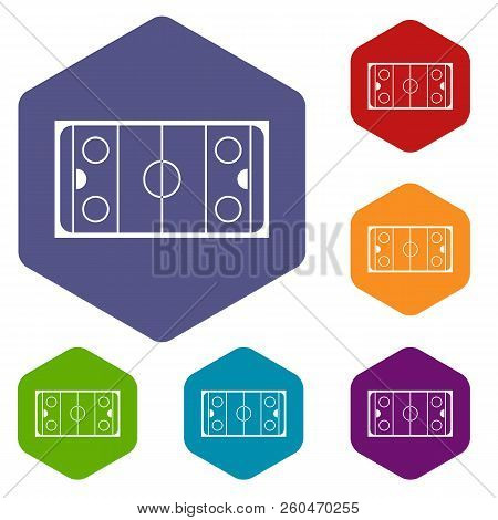 Ice hockey rink icons set rhombus in different colors isolated on white background stock photo