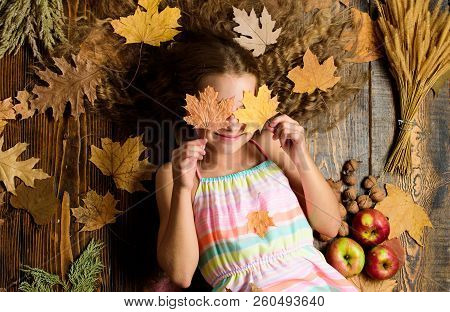 Child with long hair with fallen maple leaves. Fall nature gifts. Autumn coziness is just around. Tips for turning fall into best season. Kid girl smiling face lay wooden background fall attributes stock photo