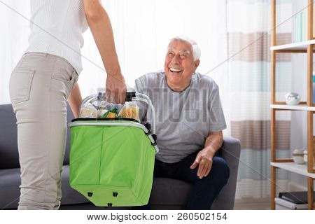Father Looking At His Daughter Holding Groceries In Basket stock photo