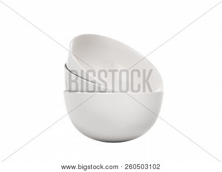 a stack of white plates 3d render on a white background no shadow stock photo
