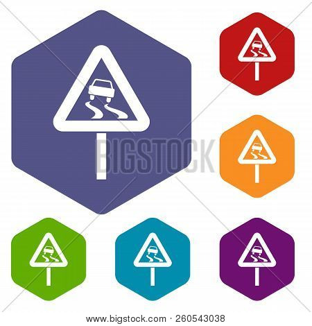 Slippery when wet road sign icons set rhombus in different colors isolated on white background stock photo