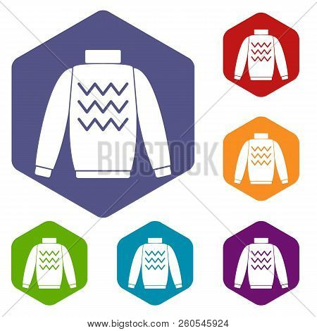 Pullover icons set rhombus in different colors isolated on white background stock photo