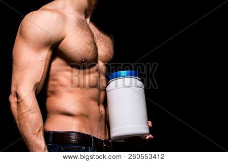 Steroid, sport vitamin, doping, anabolic, protein. Sportsman, muscles, athlete man, triceps. Torso man, ab, six pack. Muscular guy. Sexy male, muscular body. Athlete male with naked torso, bodybuildin stock photo