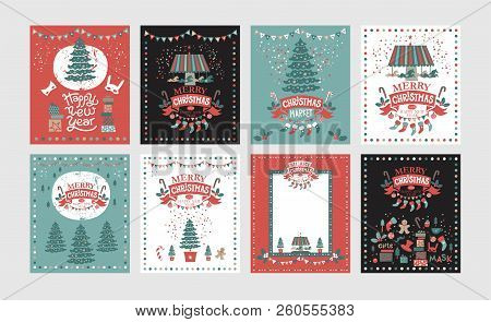 A Set Of Posters Or Postcards Christmas Market, Happy New Year And Christmas With Festive Decor, Gar