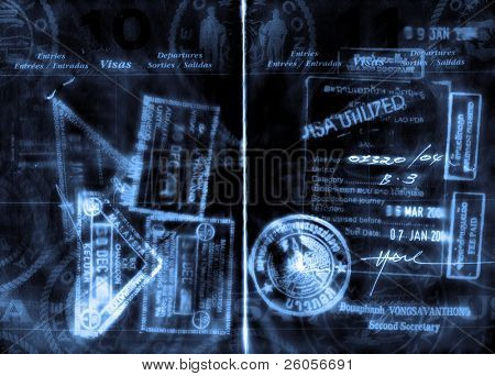 abstract grunge passport and visas stock photo