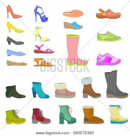 Shoes icon set. Flat set of shoes icon isolated for web design stock photo