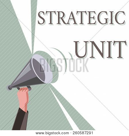 Writing note showing Strategic Unit. Business photo showcasing profit center focused on product offering and market segment. stock photo