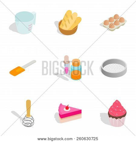 Confectionery icons set. Isometric 3d illustration of 9 confectionery icons for web stock photo