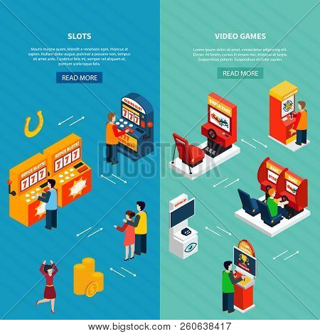 Vertical isometric banners set with people playing video casino racing shooter game machines 3d isolated vector illustration stock photo