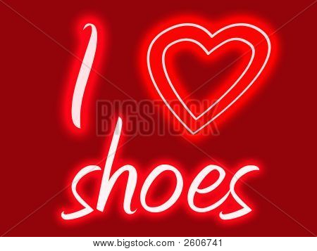 Red and pink sign with glow stating I heart shoes stock photo