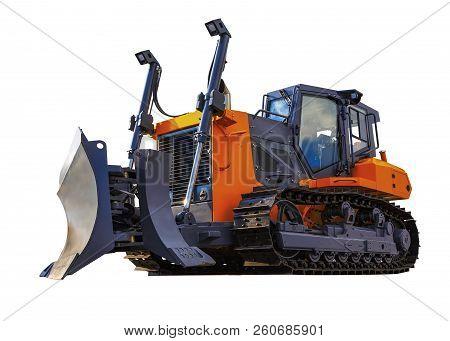 Shiny orange modern bulldozer on caterpillars isolate on white background stock photo