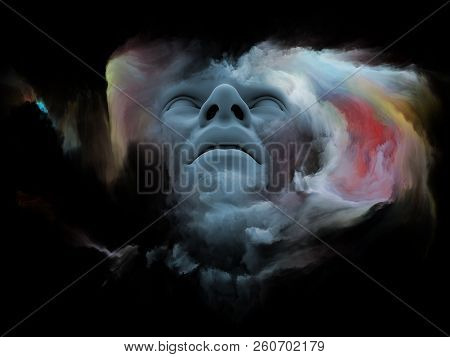 Mind Fog series. 3D rendering of human head morphed with fractal paint on the subject of inner world, dreams, emotions, creativity, imagination and human mind stock photo