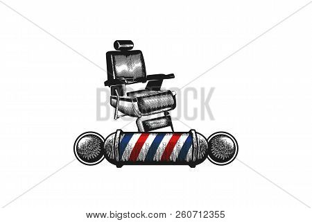 Chair, barber pole, Barber Shop Logo Designs Inspiration Isolated on White Background stock photo