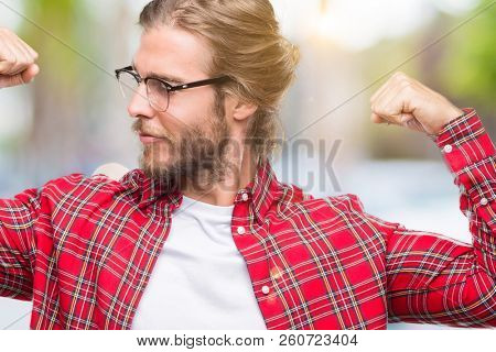 764658a2 🔥 Young handsome man with long hair wearing glasses over isolated ...