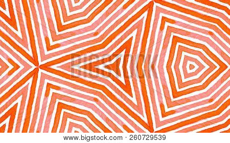 Pink red Geometric Watercolor. Delightful Seamless Pattern. Hand Drawn Stripes. Brush Texture. Fetching Chevron Ornament. Fabric Cloth Swimwear Design Wallpaper Wrapping. stock photo