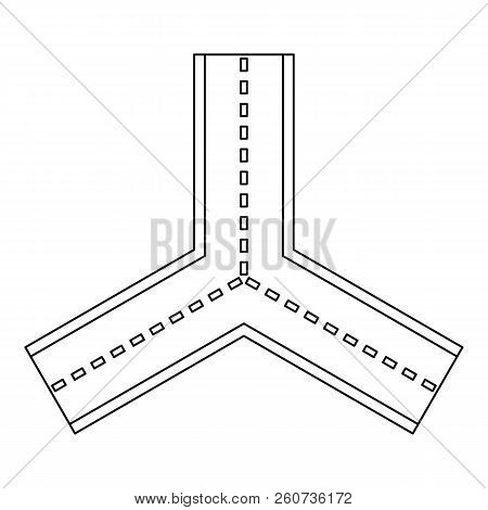 Forked road icon. Outline illustration of forked road icon for web stock photo
