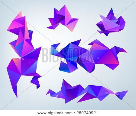 Vector set of abstract 3d facet crystal shapes, banners. Design template. Isolated. Purple stock photo