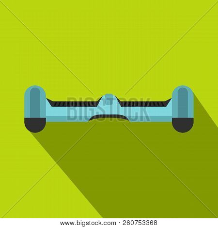 Blue dual wheel self balancing electric skateboard icon. Flat illustration of blue dual wheel self balancing electric skateboard icon for web isolated on lime background stock photo