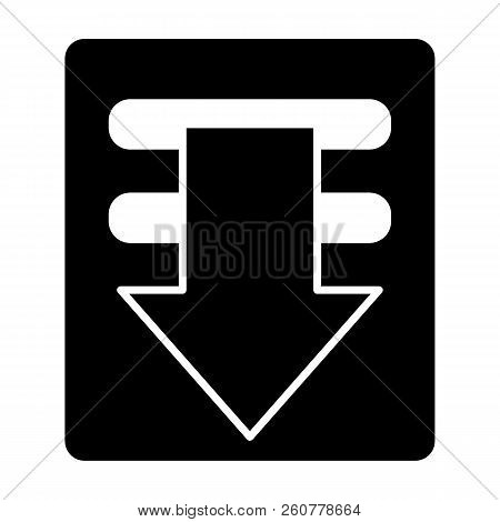 Download solid icon. Downloading file sign vector illustration isolated on white. Arrow glyph style design, designed for web and app. Eps 10. stock photo