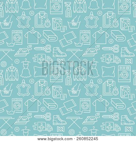 Dry cleaning, laundry blue seamless pattern with line icons. Laundromat service equipment, washing machine, clothing shoe and leaher repair, garment ironing and steaming. Background for launderette stock photo