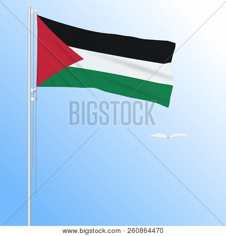 Realistic flag of Palestine fluttering in the wind, vector. stock photo