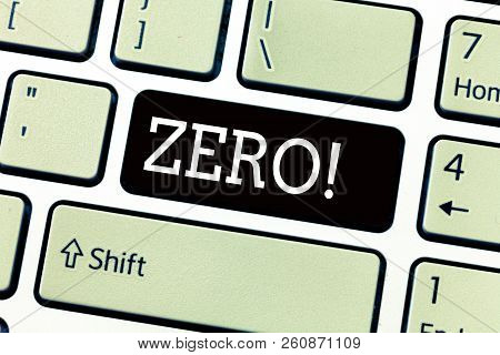 Text sign showing Zero. Conceptual photo no quantity or number nought Nothing None Origin point on sketch stock photo