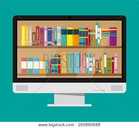Computer monitor and book shelf. Digital library, online book store, e-reading. Bookcase with different books. Vector illustration in flat style stock photo