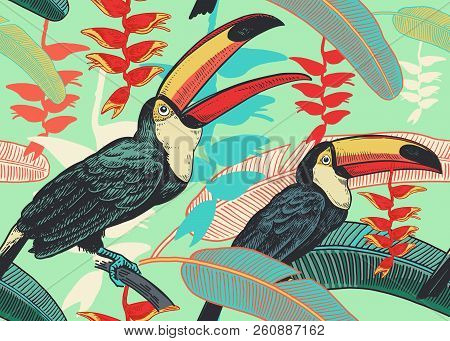 Birds toucans on background of tropical leaves and flowers. Floral seamless pattern for design paper, wallpaper, textile. Vector illustration of nature. Vintage. Hand drawing of the wild world. stock photo