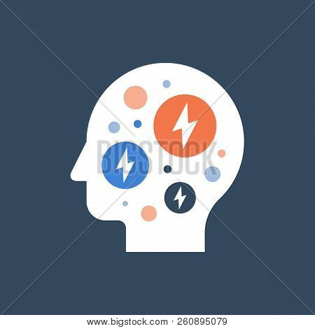 Anxiety concept, mental health, fear and panic attack, mood disorder, headache, vector flat illustration stock photo