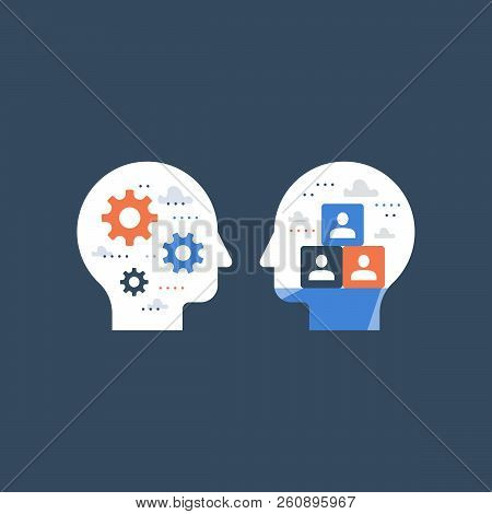 Side view head full of cogwheels, brain work gear, cognitive skill, technology people, artificial intelligence, team work and collaboration, potential development, brainstorm concept, common ground stock photo