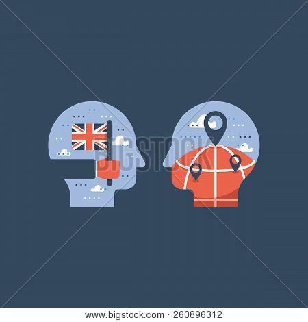 Learn English, hand holding British flag, education program, international student exchange, linguistic, vector icon, flat illustration stock photo