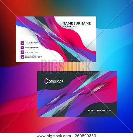 Double-sided horizontal business card template with abstract background. Vivid gradients. Vector mockup illustration. Stationery design stock photo