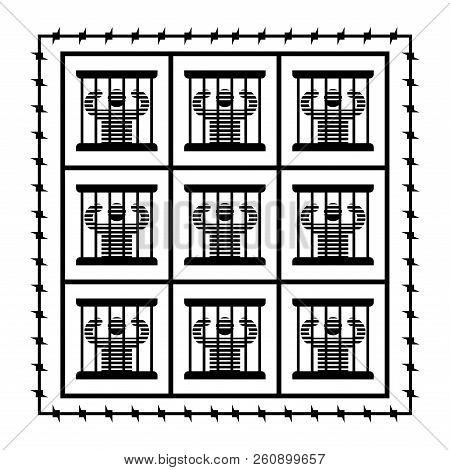 Jail symbol. Prisoner in prison. Perpetrator and bars on windows. Barbed wire around perimeter stock photo