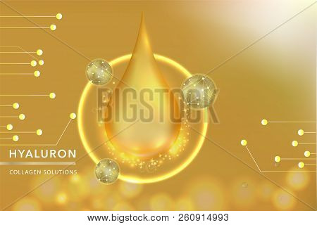 Gold Collagen Serum drop, cosmetic advertising background ready to use, luxury skin care ad, vector illustration. stock photo