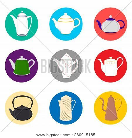 Vector illustration for set of colored ceramic teapot, kettle in icons. Teapot pattern consisting of glass hot kettle with handle, lid, spout for draining liquid. Tea from kettle, coffee in teapot. stock photo