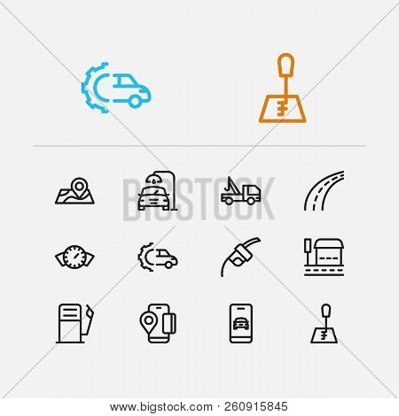 Car service icons set. Bus stop and car service icons with gas station, car wash and app taxi. Set of position for web app logo UI design. stock photo