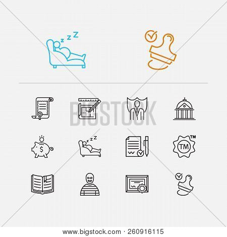 Court icons set. Crime and court icons with law, trademark and stamp. Set of drawing for web app logo UI design. stock photo