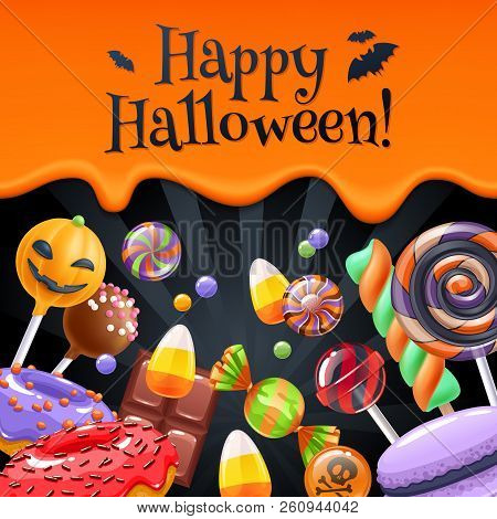 Halloween sweets colorful party background with lollipop, candy corn, cake pops, caramel, donut, macaron and chocolate, good for holiday design. Dripping orange background with greetings. stock photo