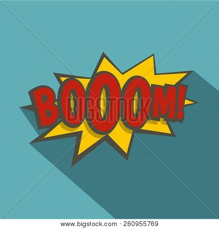 Boom, explosion icon. Flat illustration of boom, explosion icon for web isolated on baby blue background stock photo